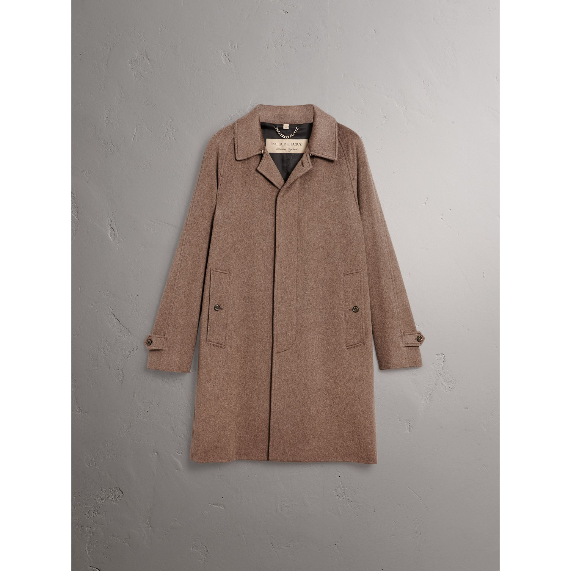 Cashmere Car Coat in Deep Taupe Melange - Men | Burberry United States - gallery image 3