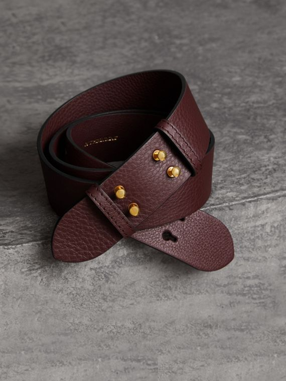 Ceinture du sac The Belt moyen en cuir grainé (Bordeaux Intense)
