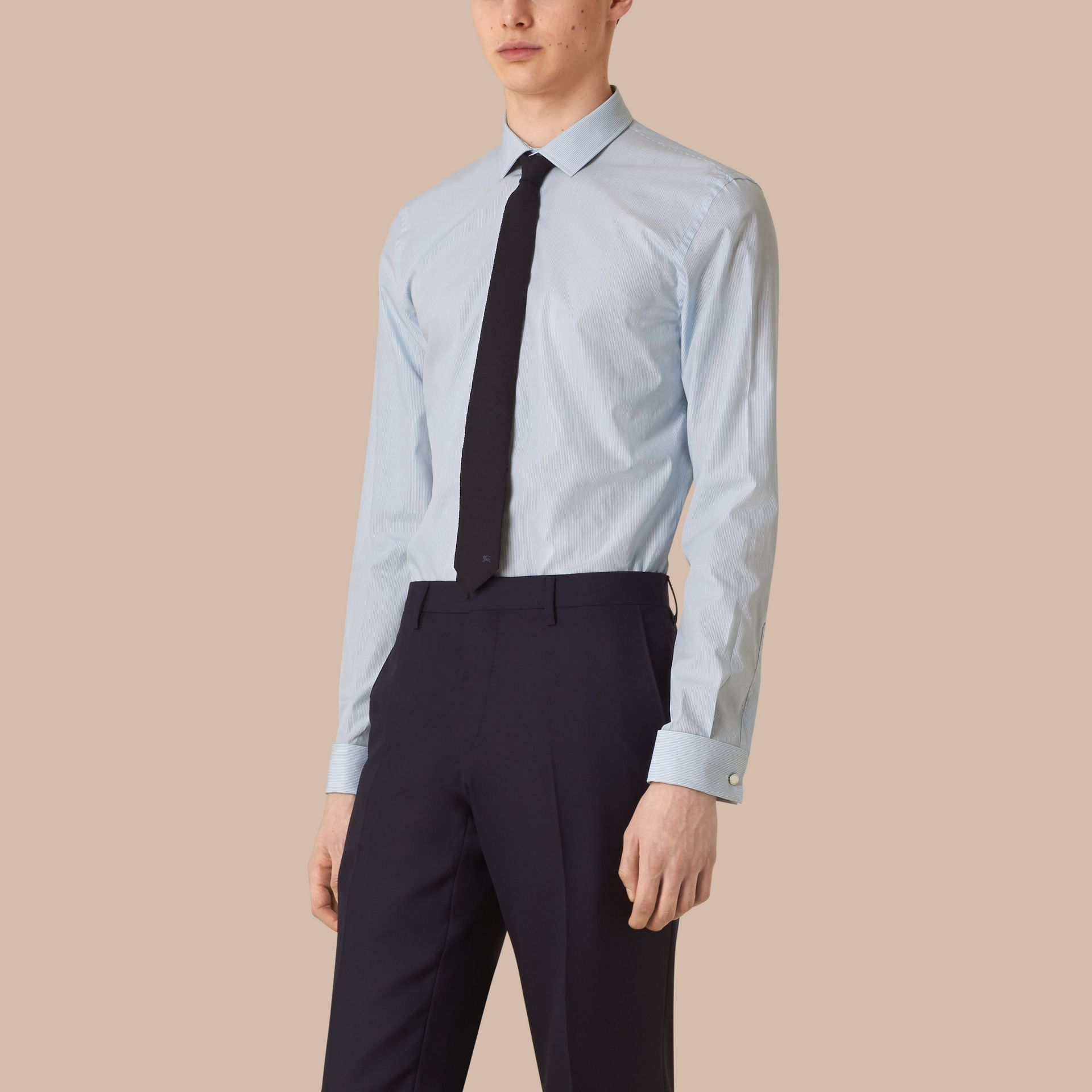 Slim Fit Double-cuff Striped Cotton Poplin Shirt in City Blue - Men | Burberry - gallery image 1