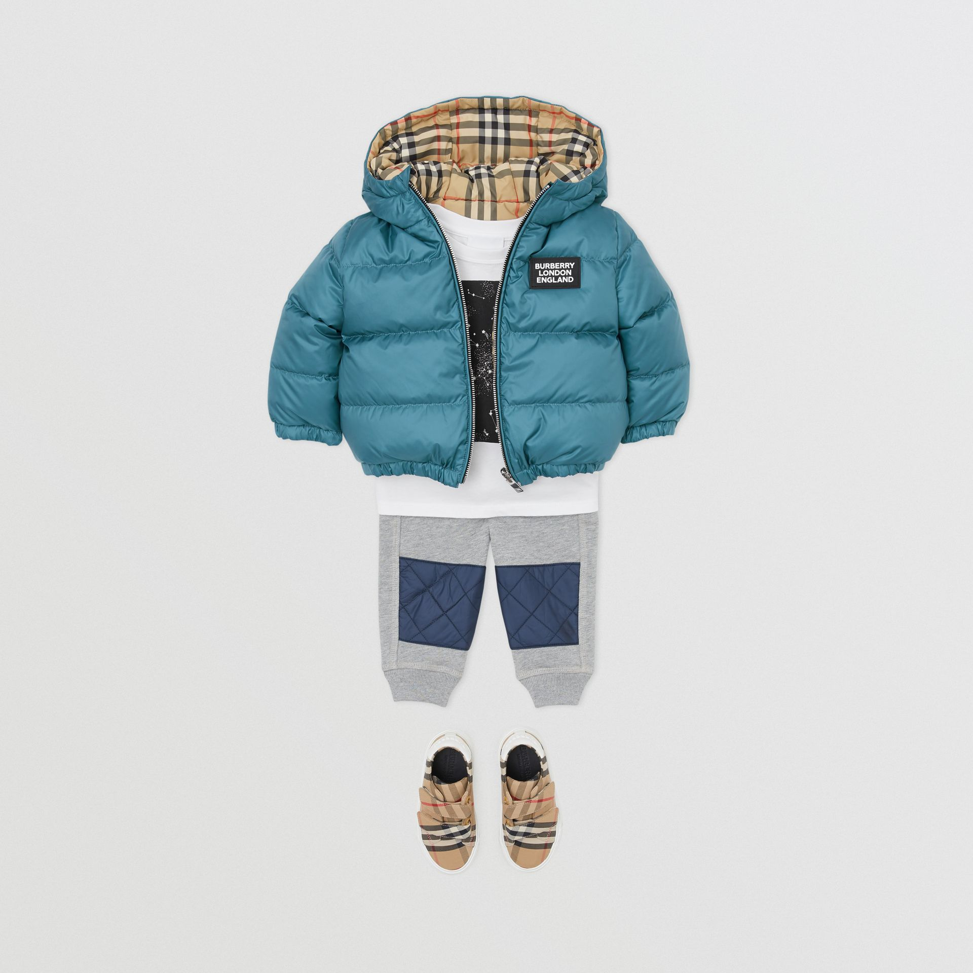 Reversible Vintage Check Down-filled Puffer Jacket in Dusty Blue - Children | Burberry - gallery image 3