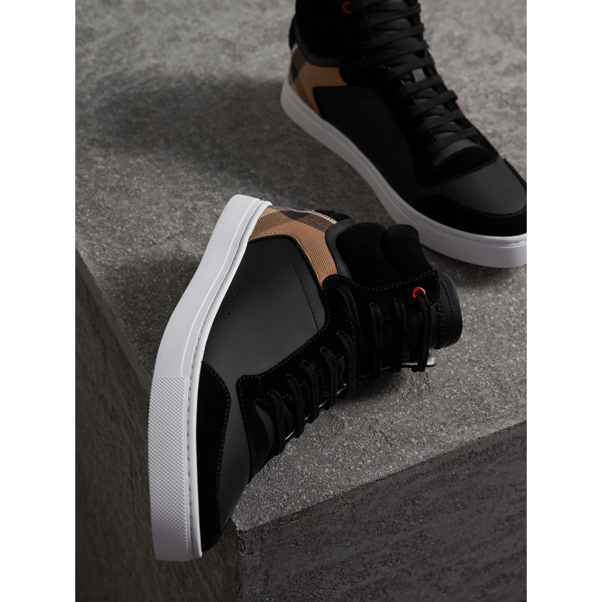 Leather and House Check High-top Sneakers in Black - Men | Burberry - gallery image 4