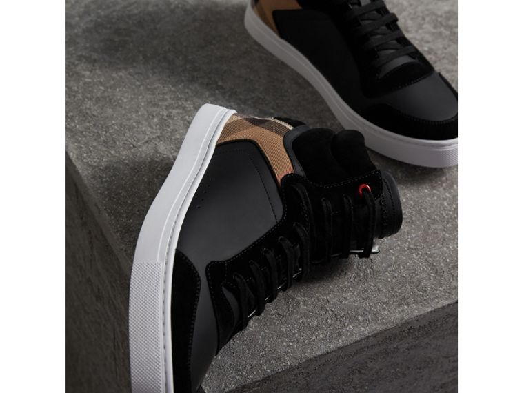 Leather and House Check High-top Sneakers in Black - Men | Burberry - cell image 4