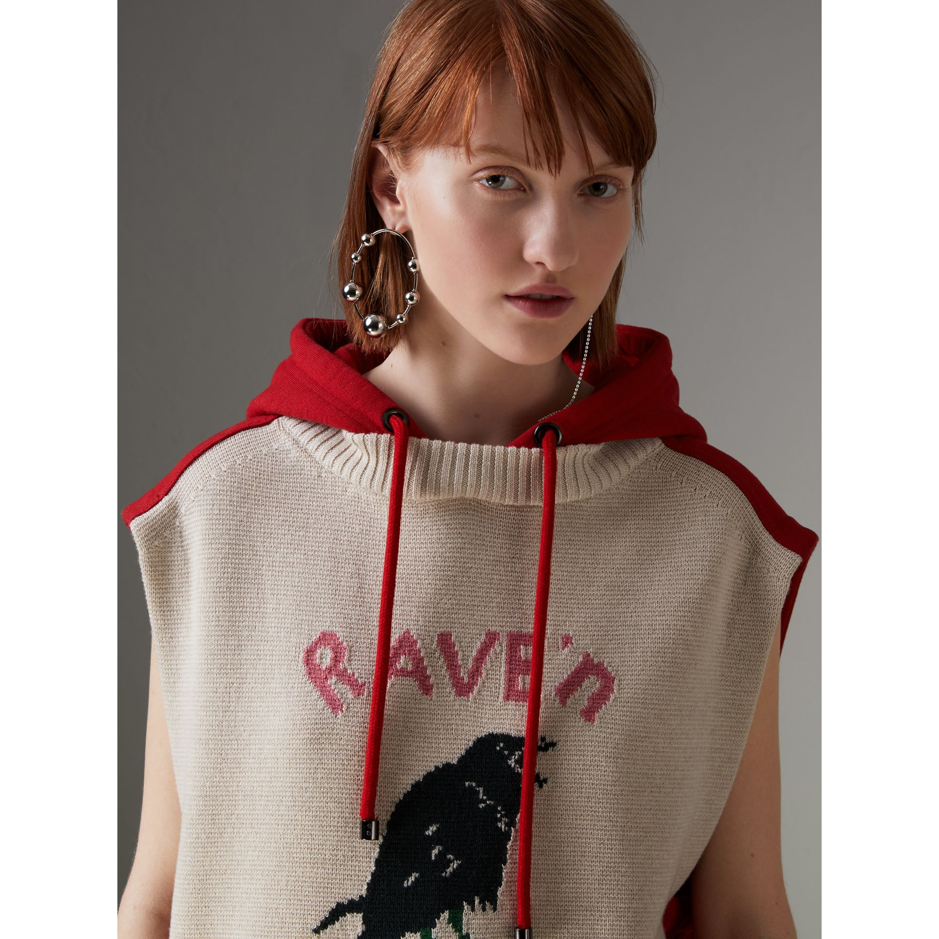 Raven Intarsia Sleeveless Hoodie in Red - Women | Burberry Canada - gallery image 1