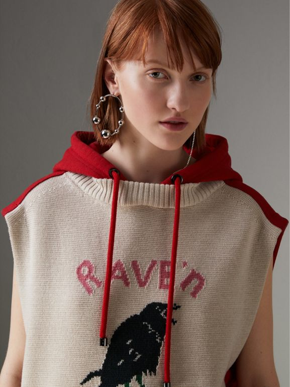 Raven Intarsia Sleeveless Hoodie in Red - Women | Burberry - cell image 1