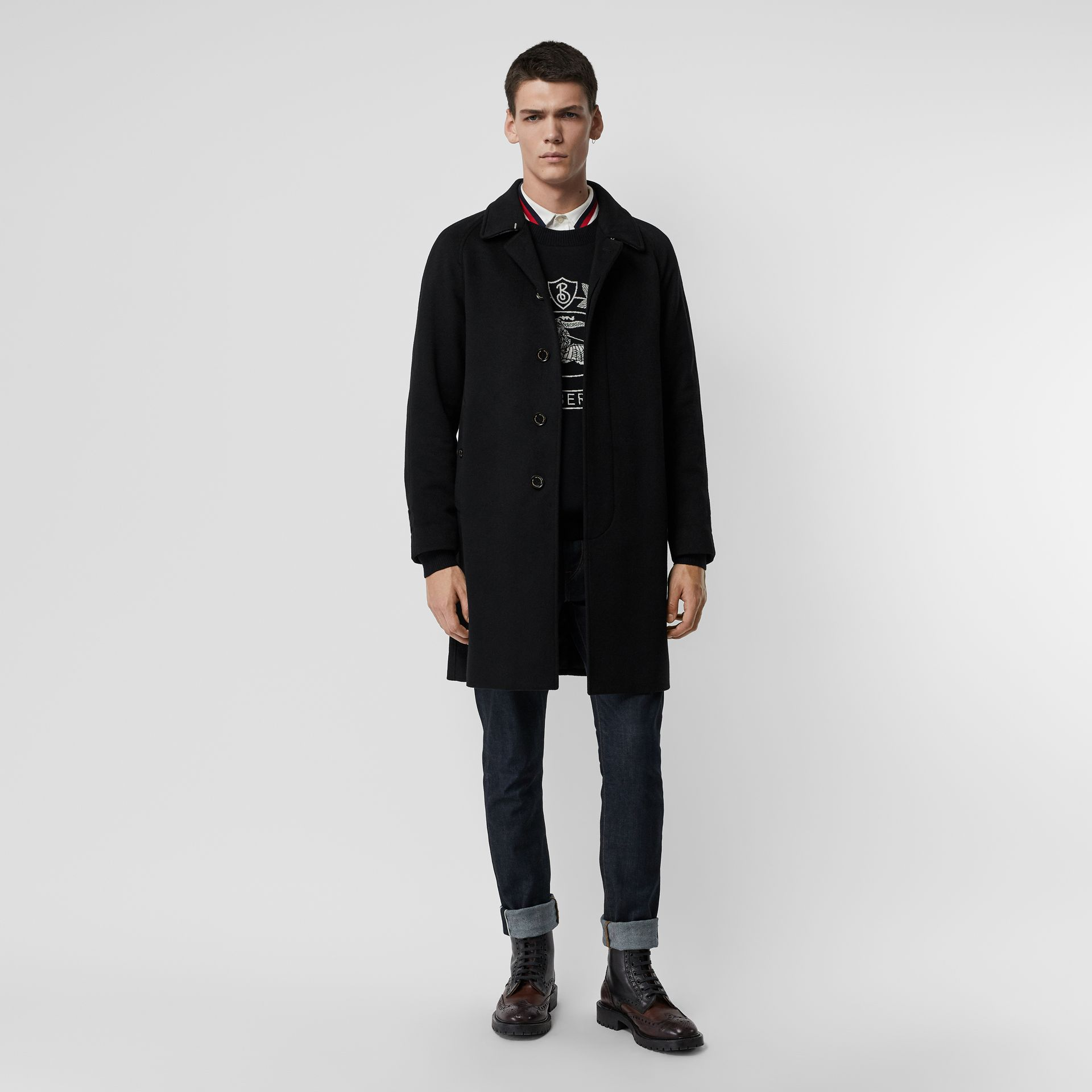 Cashmere Car Coat in Black - Men | Burberry Singapore - gallery image 0