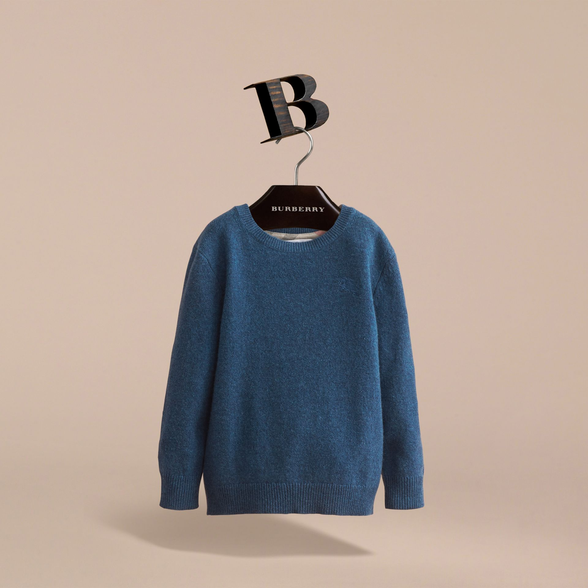 Check Elbow Patch Cashmere Sweater in Mineral Blue Melange - Boy | Burberry United Kingdom - gallery image 3