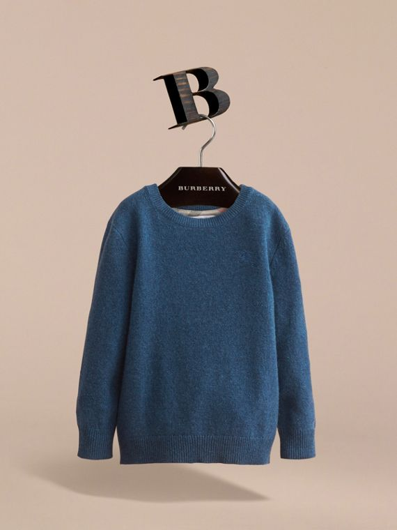 Check Elbow Patch Cashmere Sweater in Mineral Blue Melange - Boy | Burberry United Kingdom - cell image 2