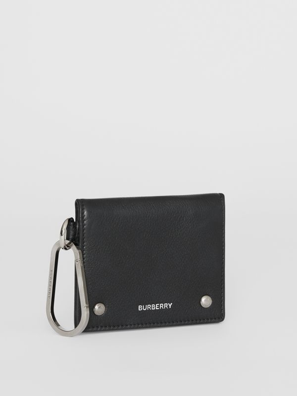 Grainy Leather Trifold Wallet in Black | Burberry Hong Kong S.A.R - cell image 3