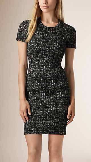 Tweed Cotton Wool Stretch Shift Dress