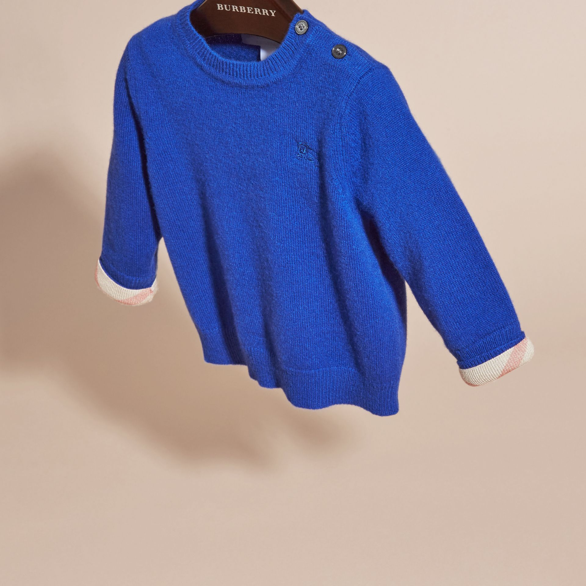 Brilliant blue Check Detail Cashmere Sweater Brilliant Blue - gallery image 3