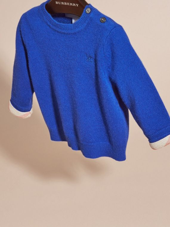 Check Detail Cashmere Sweater in Brilliant Blue - cell image 2