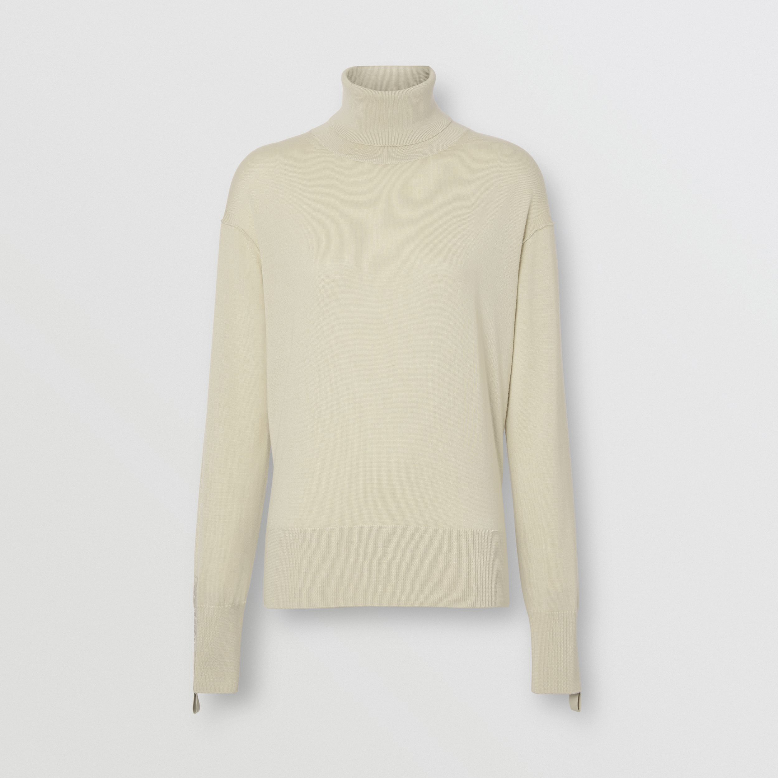 Logo Detail Merino Wool Silk Roll-neck Sweater in Pale Ochre - Women | Burberry - 4