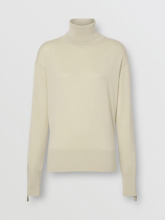 Logo Detail Merino Wool Silk Roll-neck Sweater in Pale Ochre