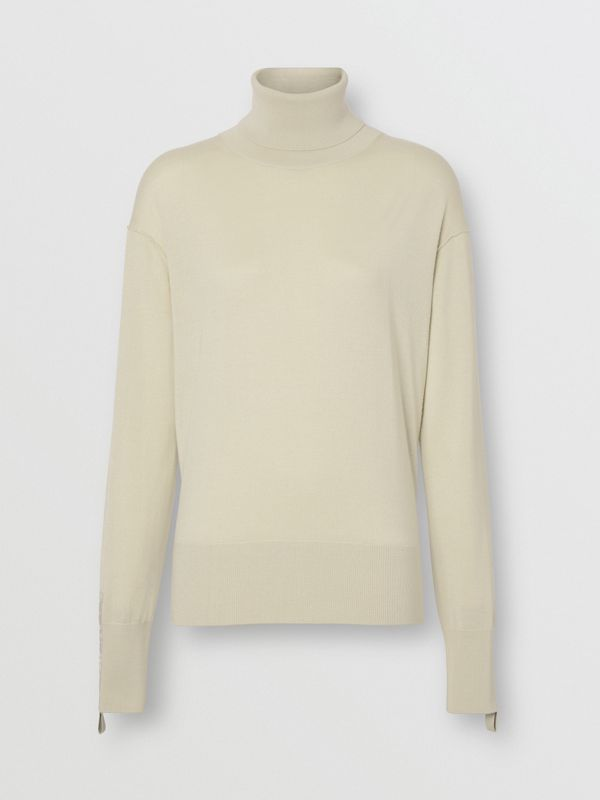 Logo Detail Merino Wool Silk Roll-neck Sweater in Pale Ochre - Women | Burberry - cell image 3