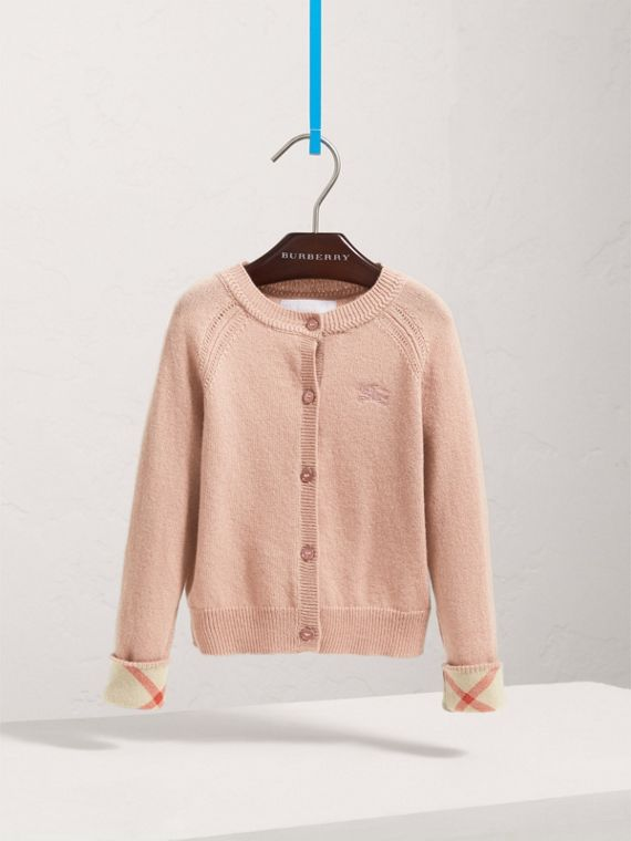 Check Detail Cashmere Cardigan in Dusty Pink - Girl | Burberry United Kingdom - cell image 2