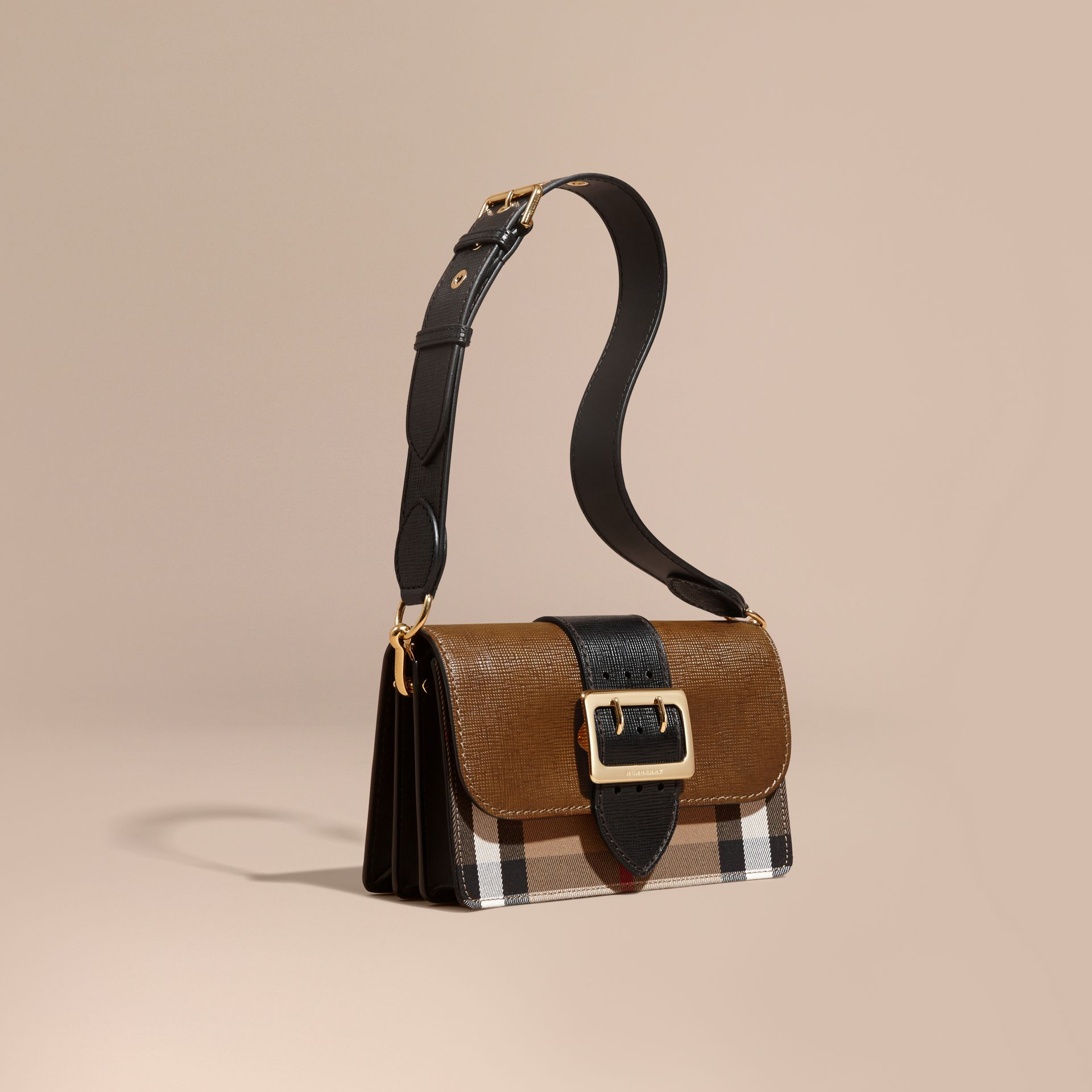 Tan/black The Medium Buckle Bag in House Check and Textured Leather Tan/black - gallery image 1