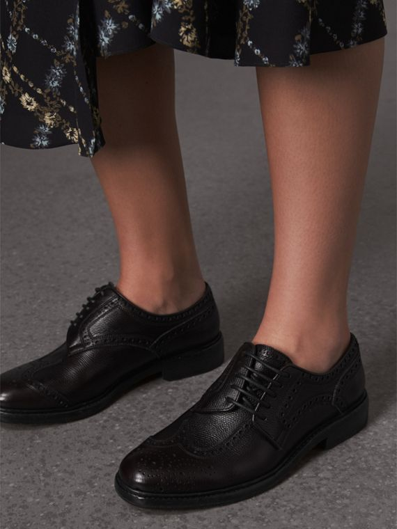 Lace-up Brogue Detail Textured Leather Asymmetric Shoes in Black - Women | Burberry United Kingdom - cell image 2
