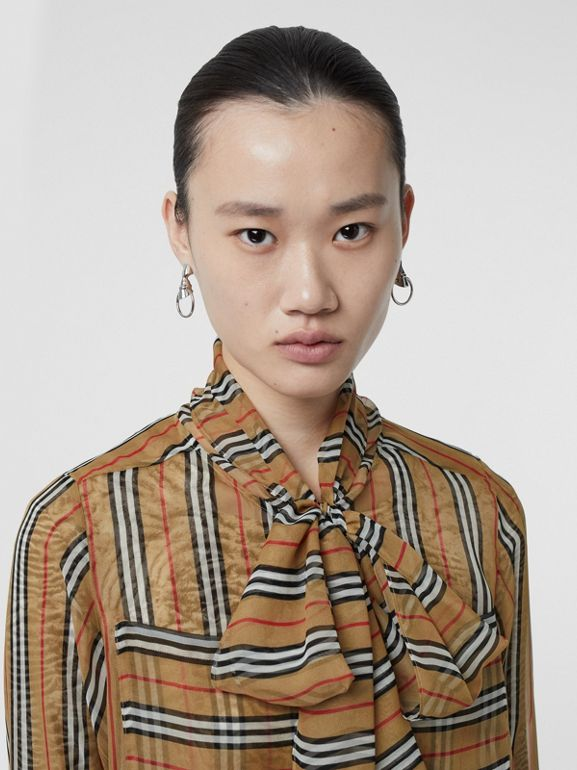 Icon Stripe Silk Pussy-bow Blouse in Antique Yellow - Women | Burberry - cell image 1