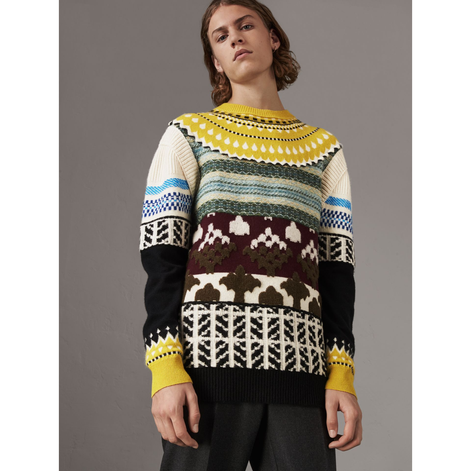 Fair Isle Multi-knit Cashmere Wool Sweater in Pine Green - Men | Burberry - gallery image 1