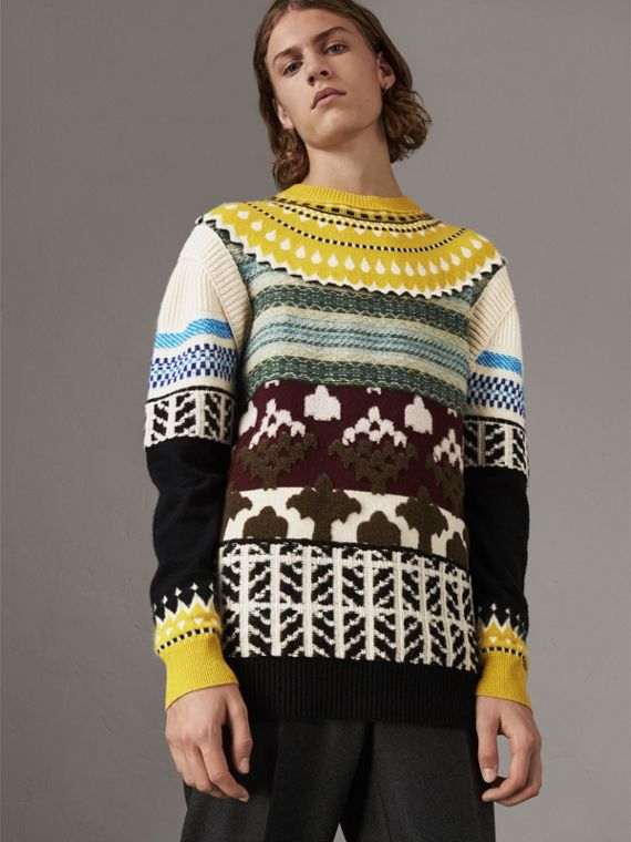 Fair Isle Multi-knit Cashmere Wool Sweater in Pine Green