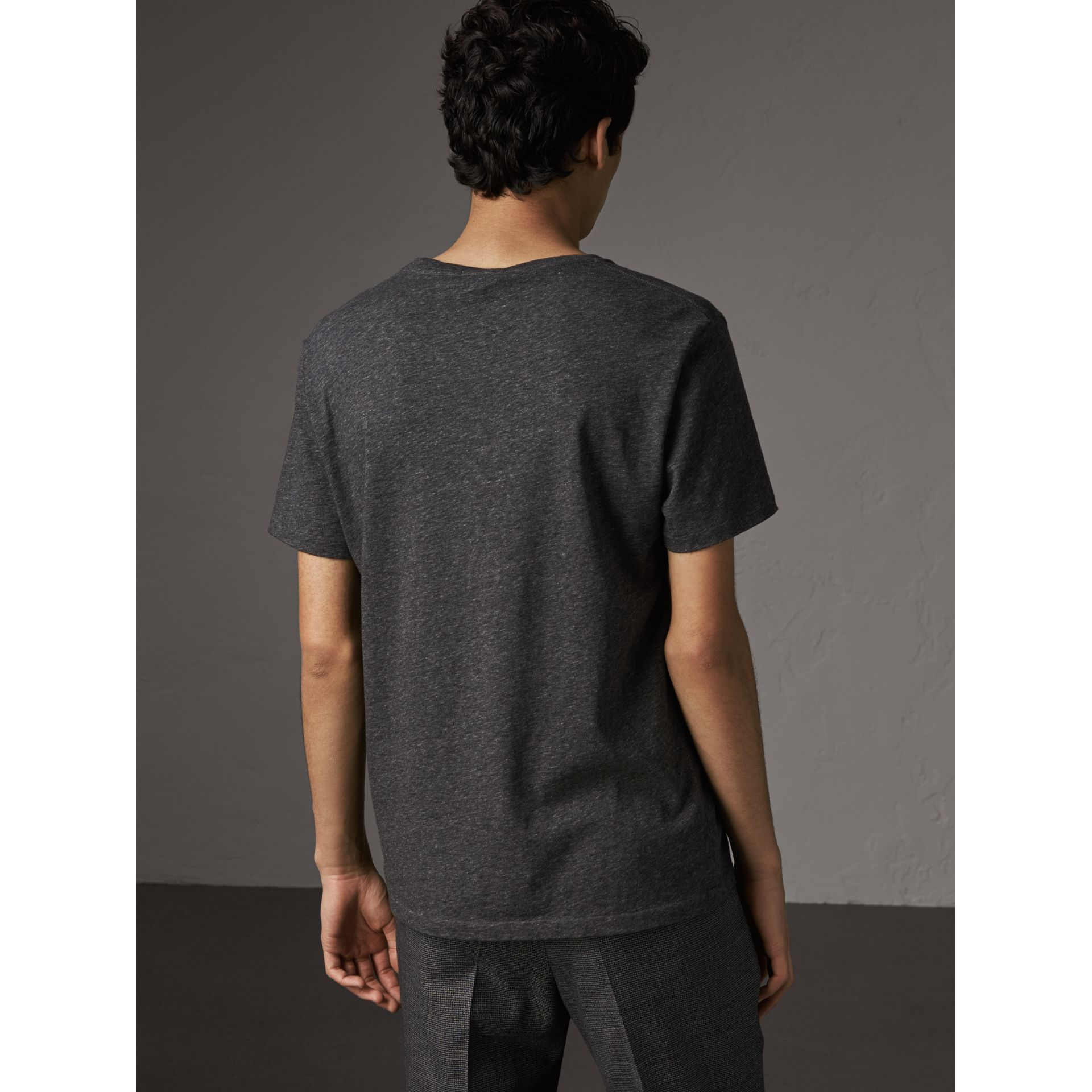 Cotton Jersey T-shirt in Dark Grey Melange - Men | Burberry - gallery image 3