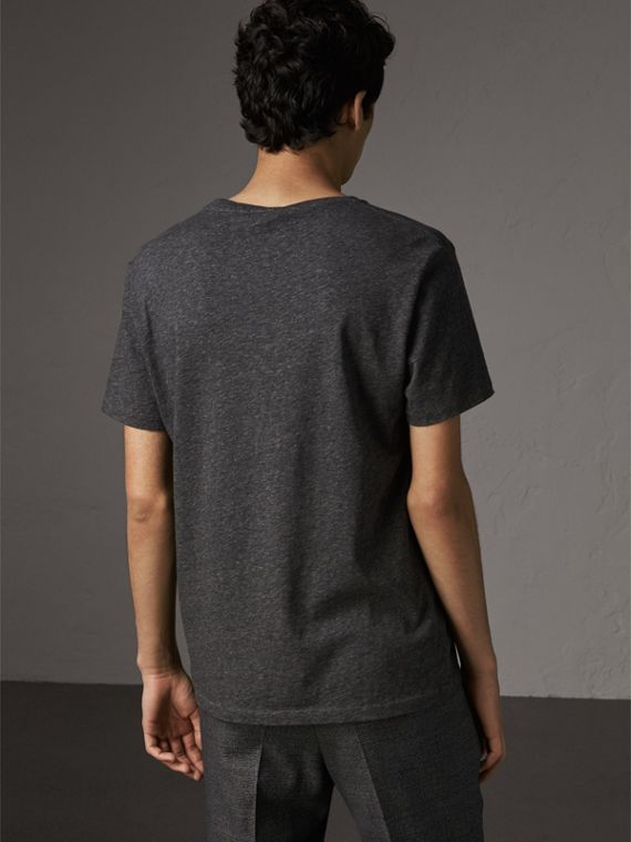 Cotton Jersey T-shirt in Dark Grey Melange - Men | Burberry Australia - cell image 2