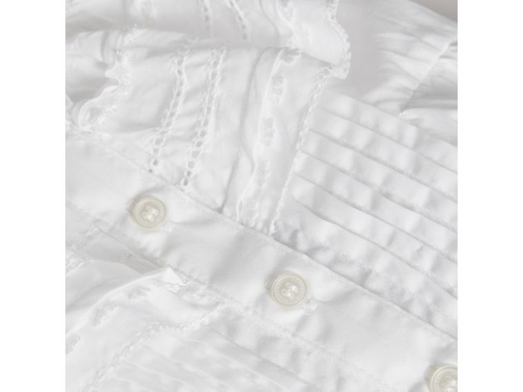 Lace and Pintuck Detail Cotton A-line Dress in White | Burberry - cell image 1