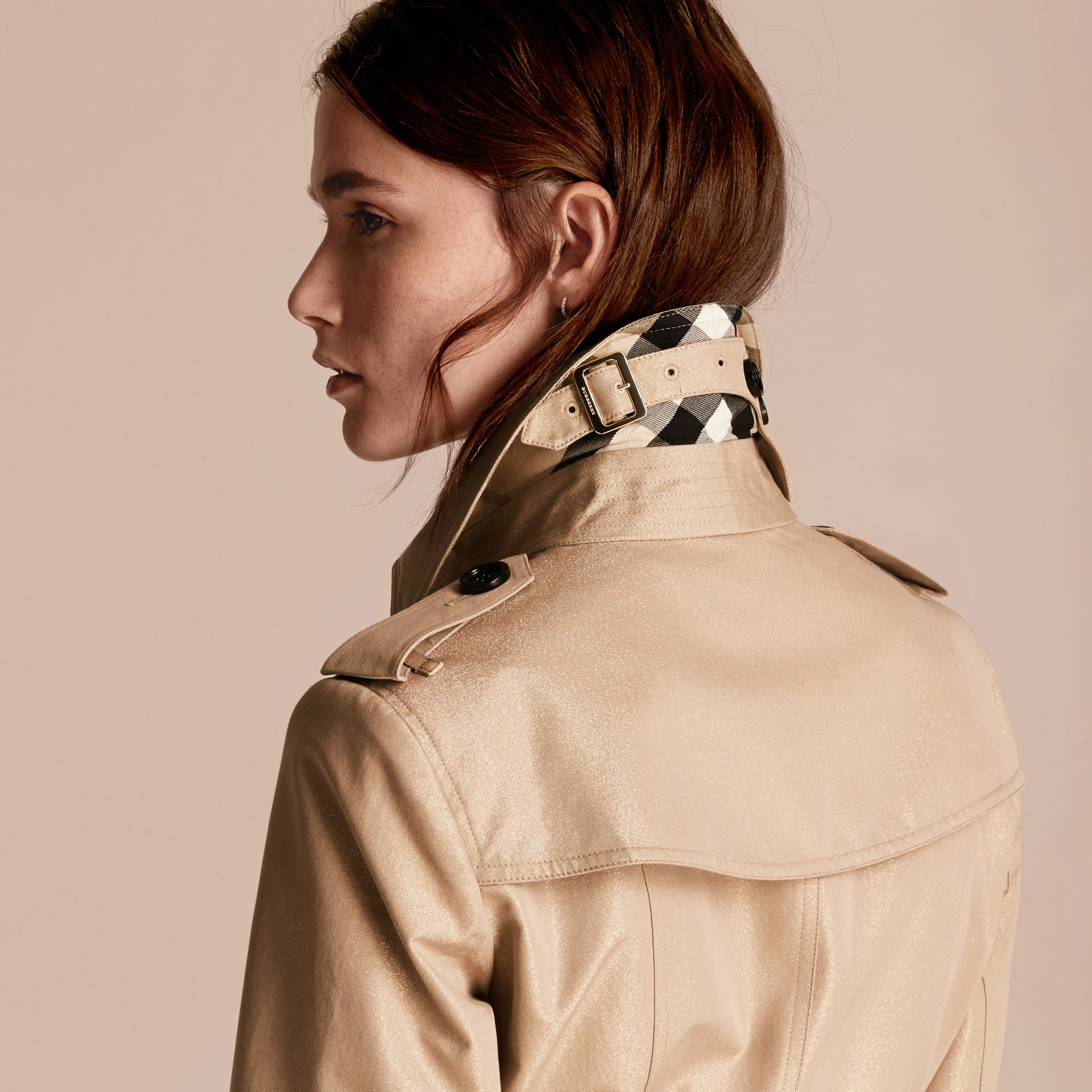 Nude gold Metallic Cotton Gabardine Trench Coat with Oversize Buckle Detail - gallery image 6