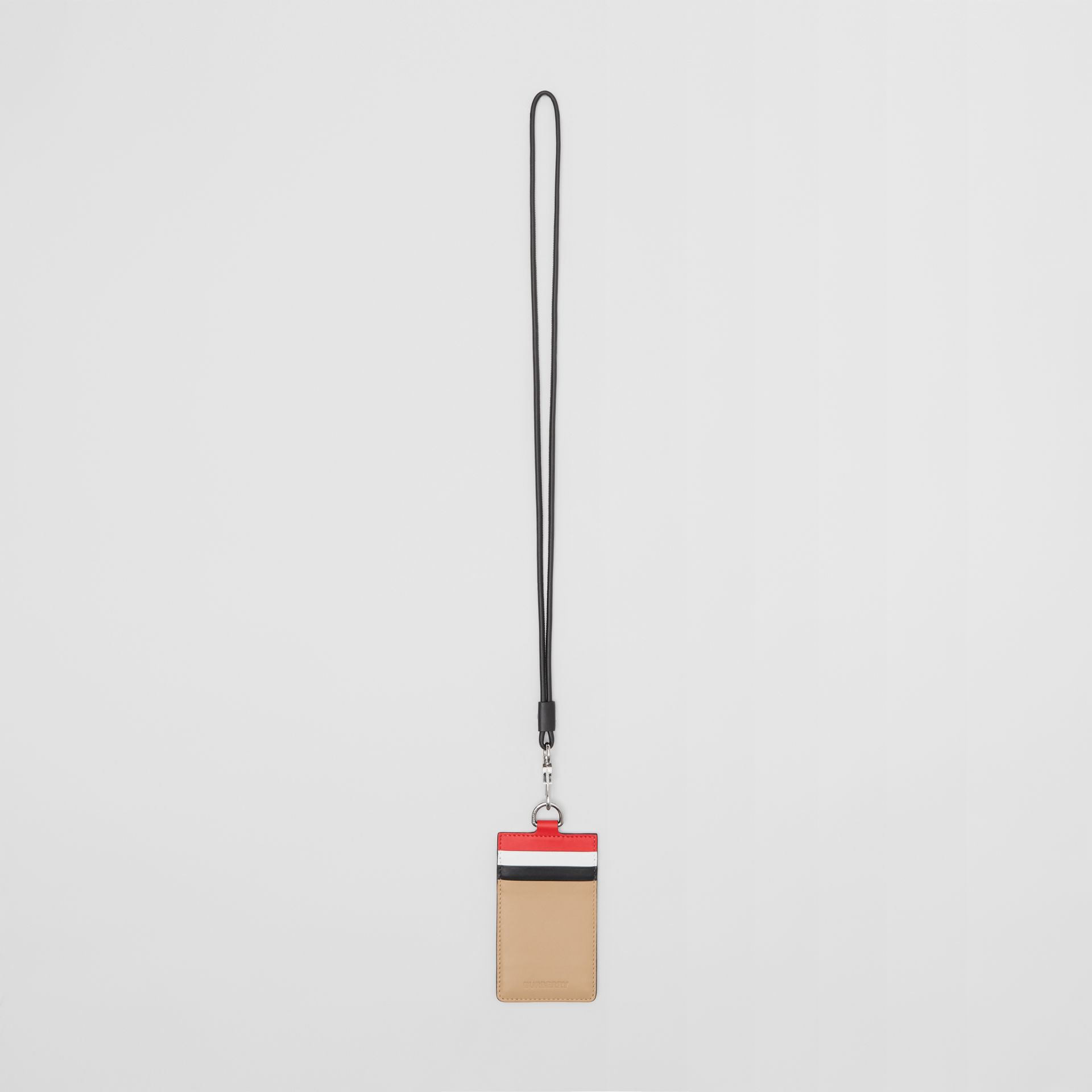 Colour Block Leather Card Case Lanyard in Red/black/beige | Burberry - gallery image 0