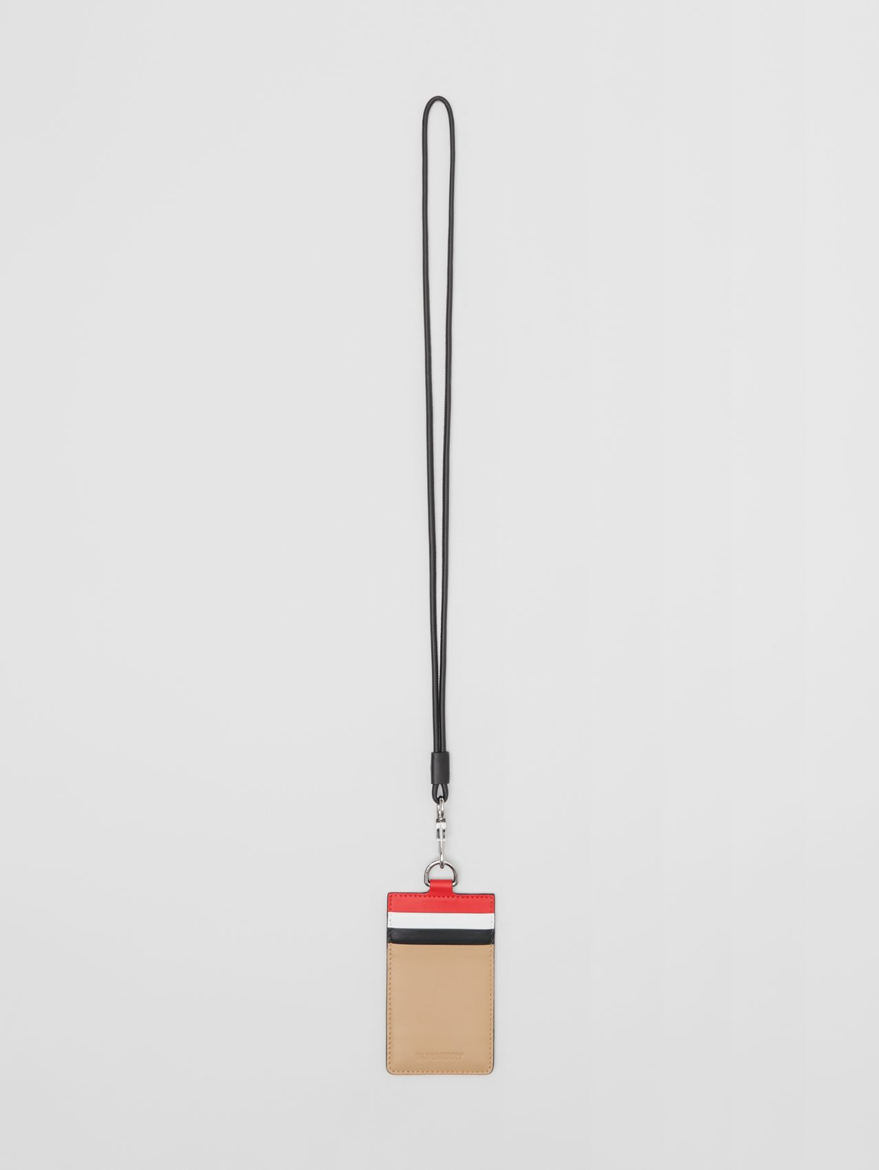 Colour Block Leather Card Case Lanyard in Red/black/beige