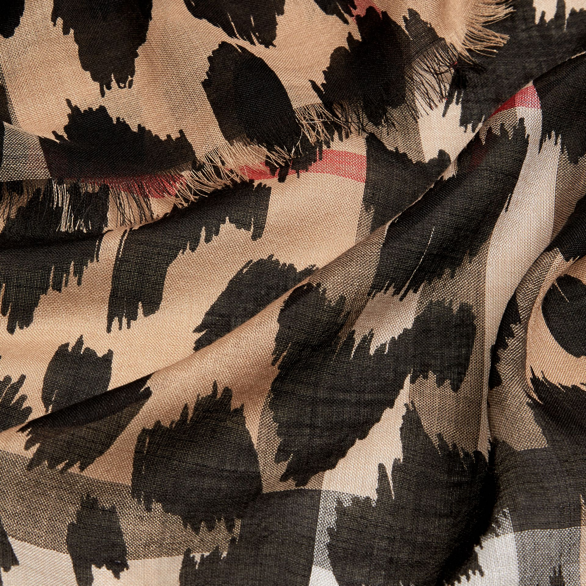 Camel/black Animal Print and Check Wool Silk Scarf Camel/black - gallery image 2