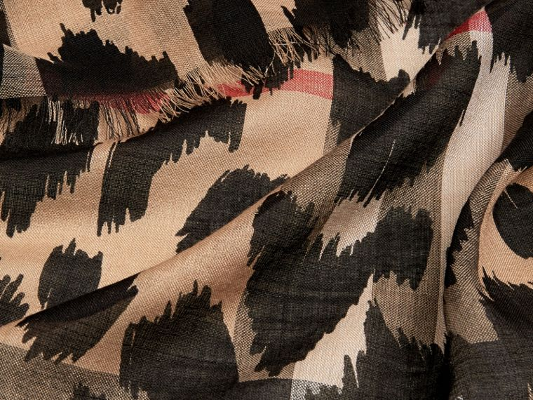 Camel/black Animal Print and Check Wool Silk Scarf Camel/black - cell image 1