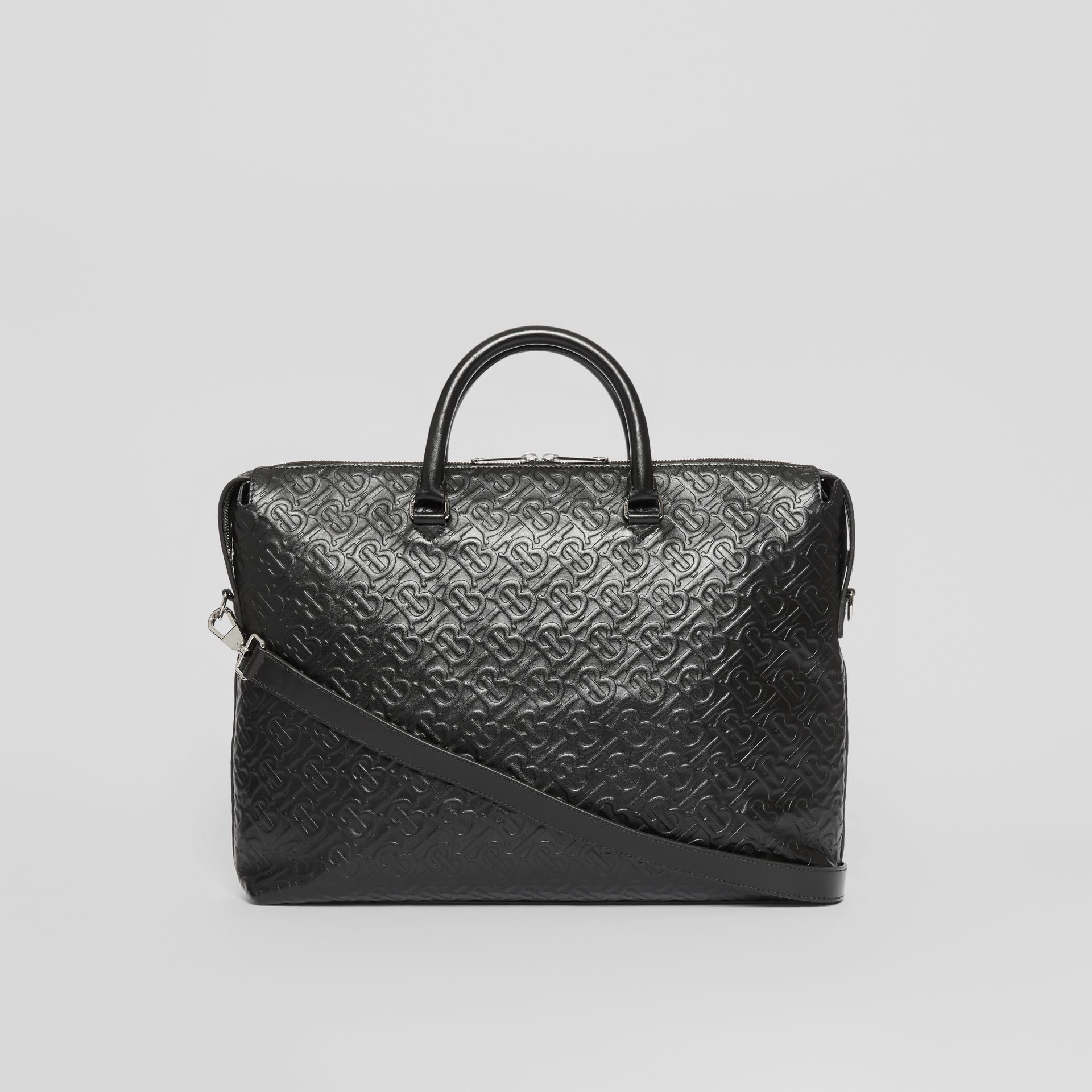 Triple Stud Monogram Leather Briefcase in Black - Men | Burberry - gallery image 7