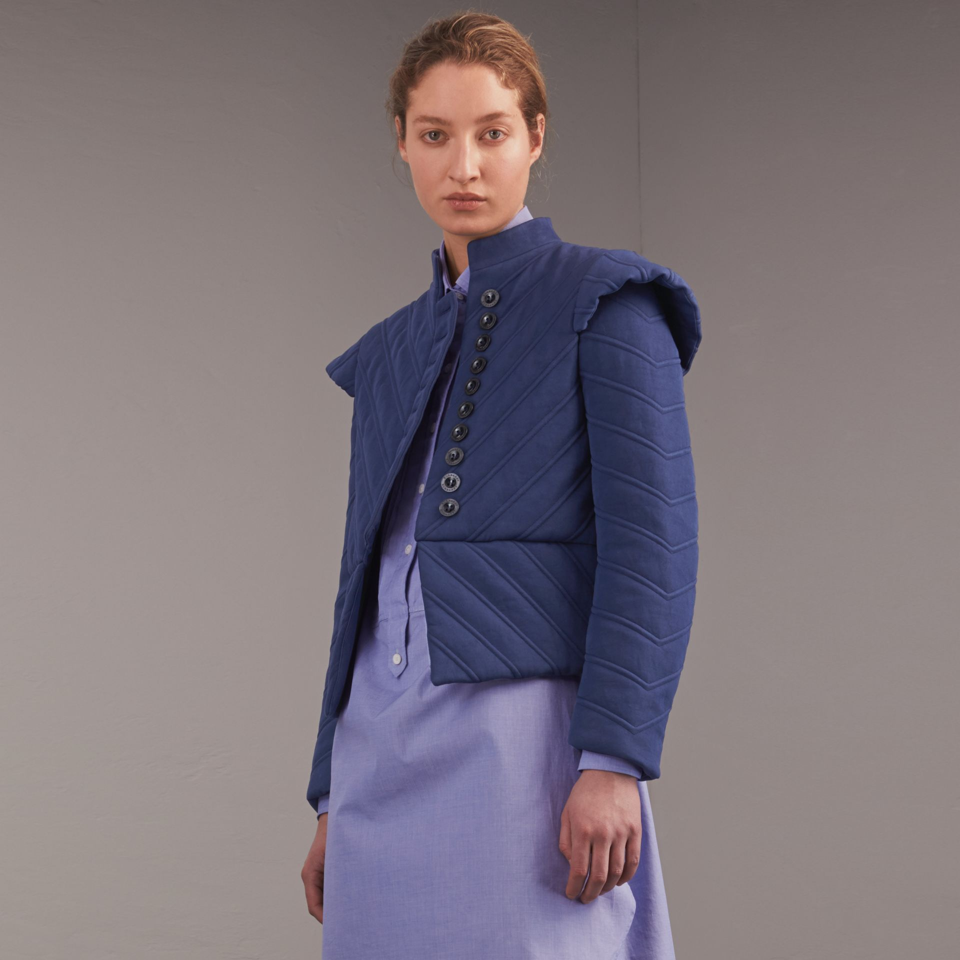 Quilted Ramie Cotton Military Jacket in Indigo - Women | Burberry - gallery image 7