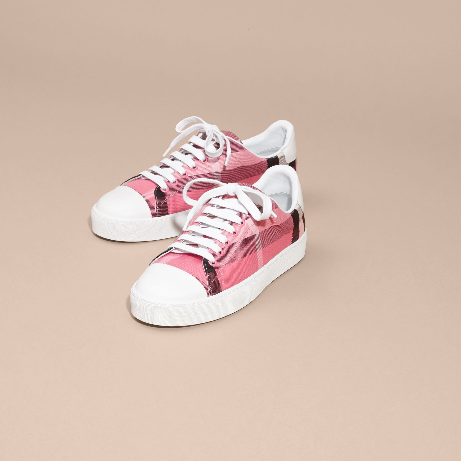 Check and Leather Trainers in Rose Pink - gallery image 3