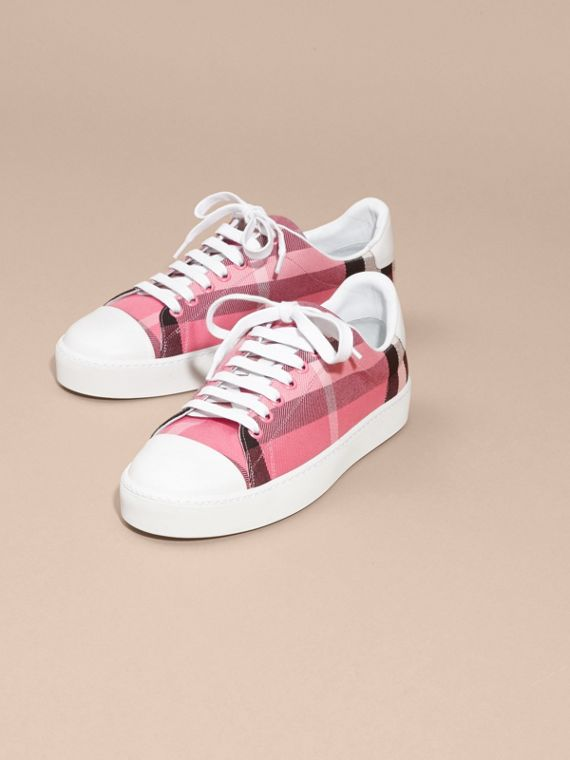 Check and Leather Trainers in Rose Pink - cell image 2