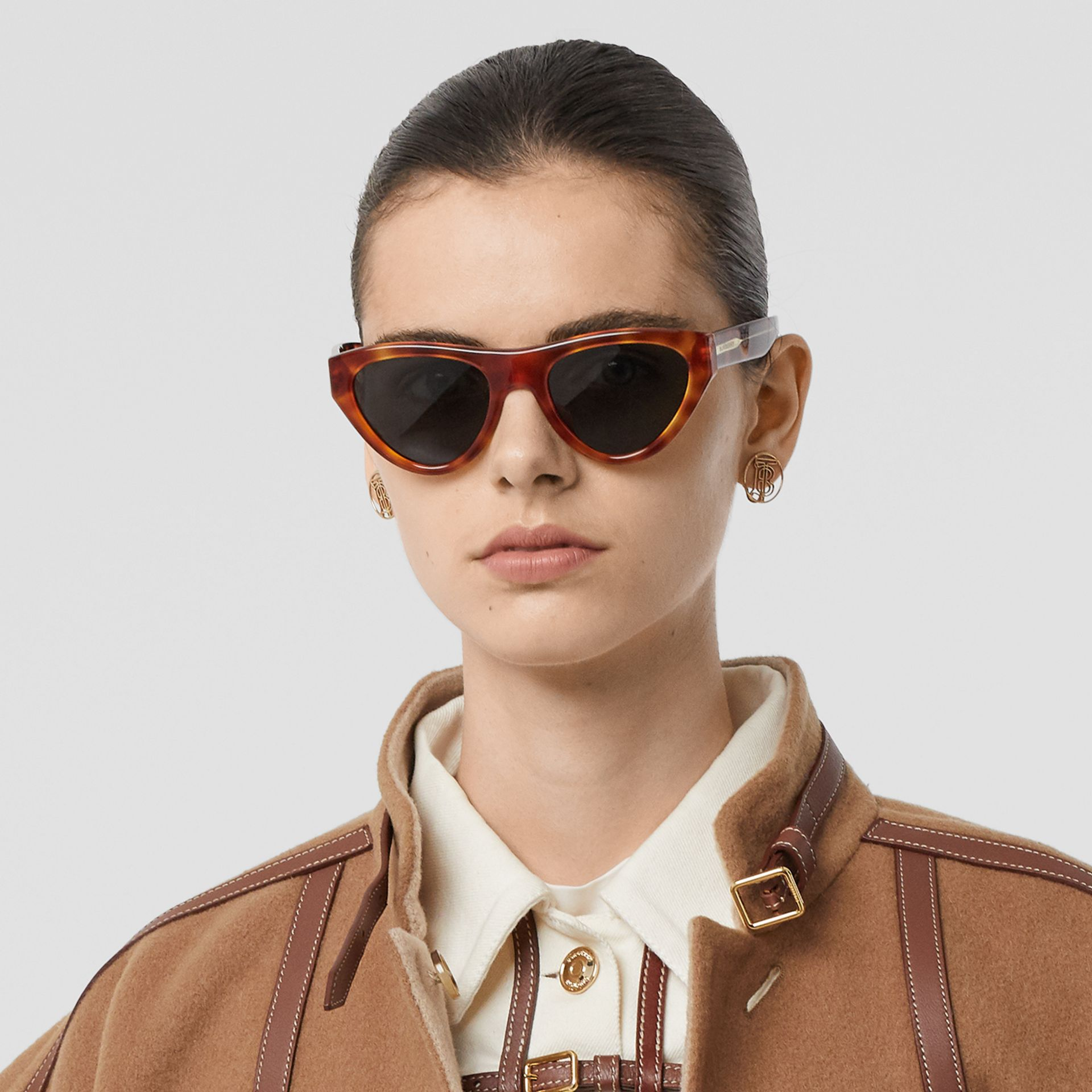 Triangular Frame Sunglasses in Amber Tortoiseshell - Women | Burberry - gallery image 2