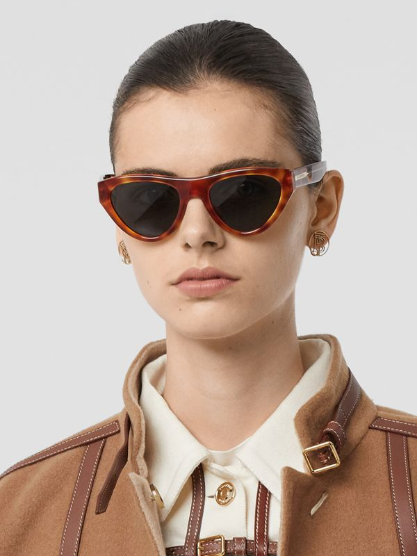 Triangular Frame Sunglasses in Amber Tortoiseshell - Women | Burberry - cell image 2