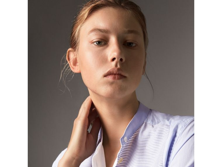 Bib Detail Cotton Longline Shirt in Pale Blue/white - Women | Burberry - cell image 1