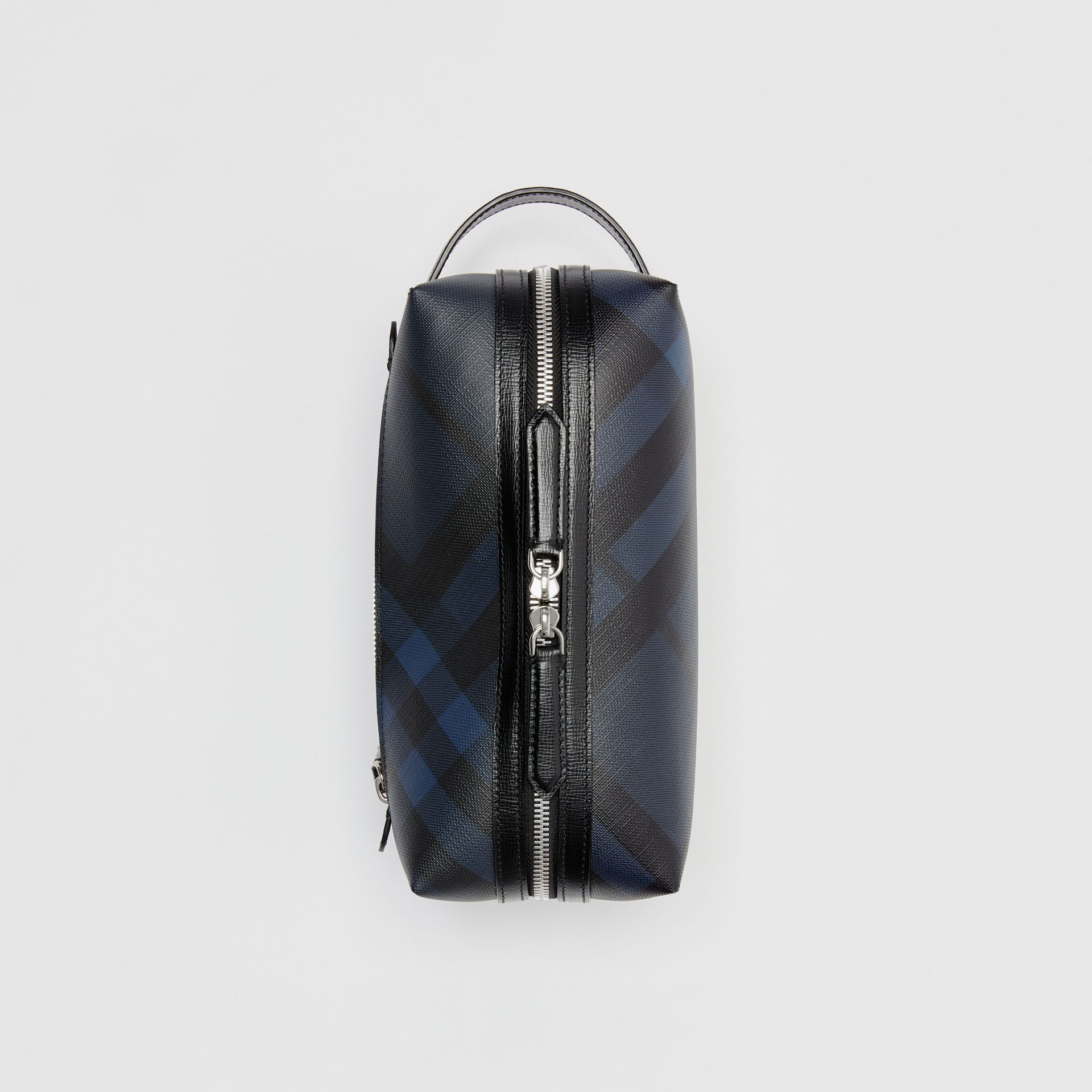 Trousse con pelle e motivo London check (Navy/nero) | Burberry - immagine della galleria 0