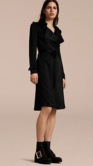 Silk Satin Wrap Trench Dress