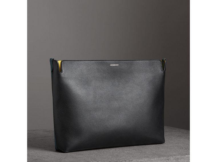 Large Tri-tone Leather Clutch in Black/sea Green - Women | Burberry - cell image 4