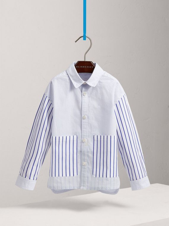 Contrast Stripe Cotton Shirt in Light Blue - Boy | Burberry - cell image 2