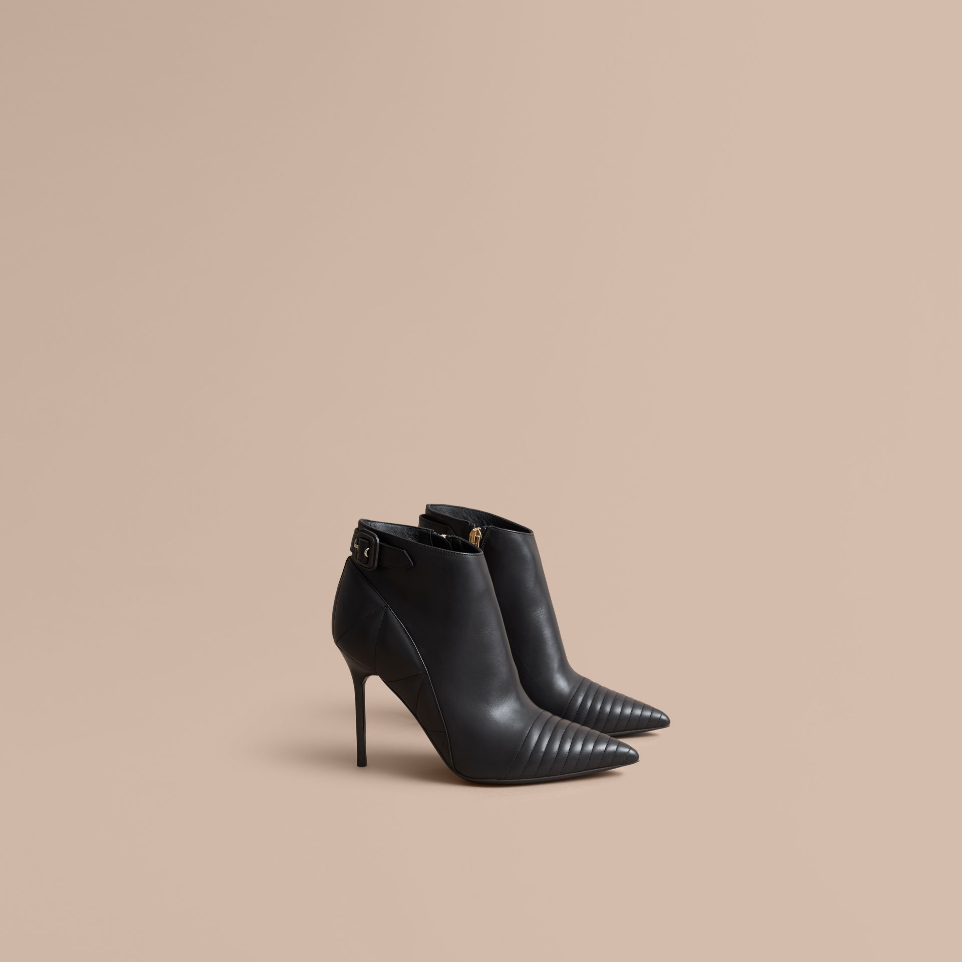 Quilted Leather Ankle Boots in Black - Women | Burberry - gallery image 1
