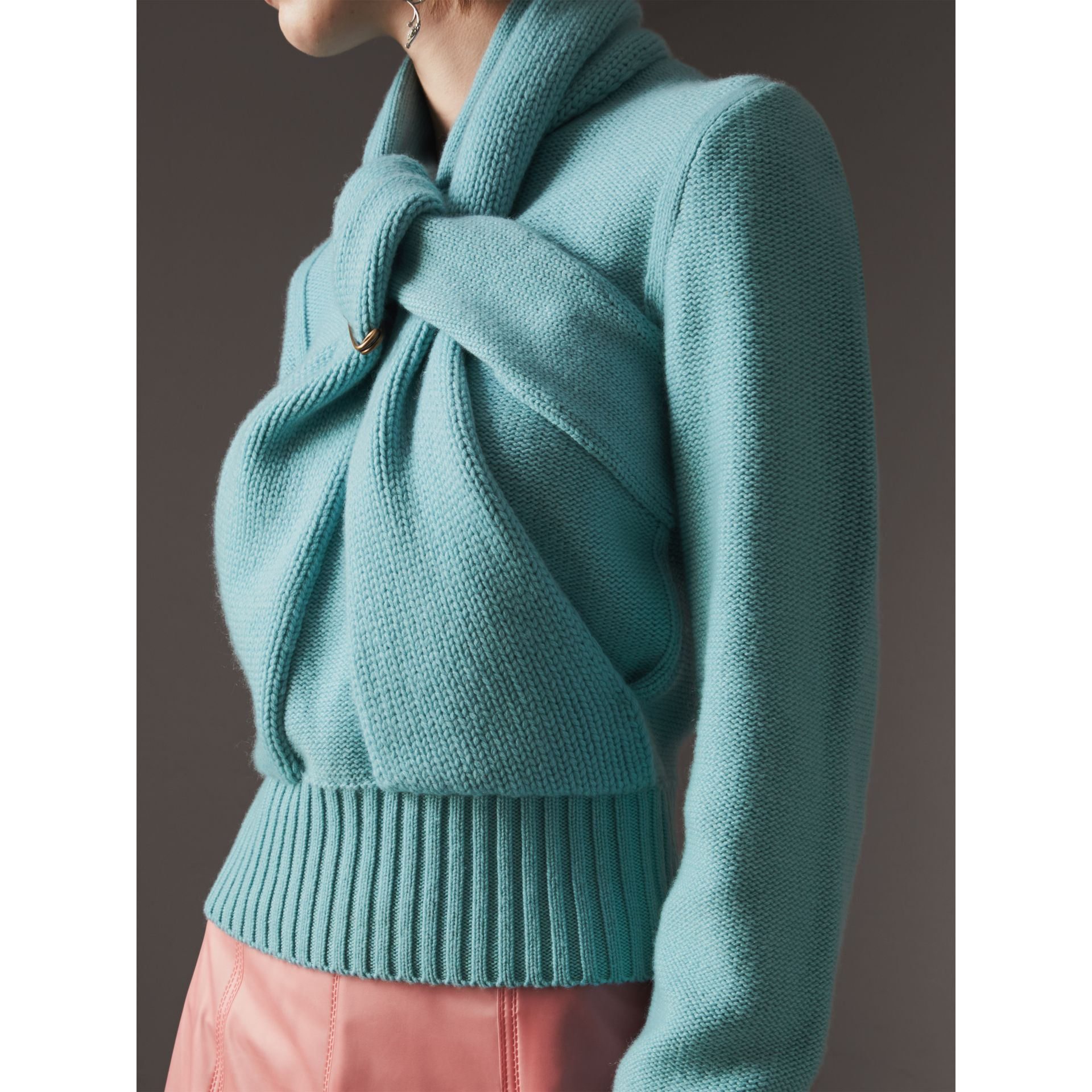 Cashmere Tie-neck Sweater in Powder Blue - Women | Burberry United Kingdom - gallery image 1