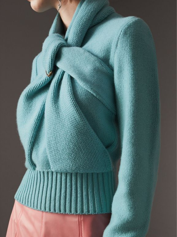 Cashmere Tie-neck Sweater in Powder Blue - Women | Burberry United Kingdom - cell image 1