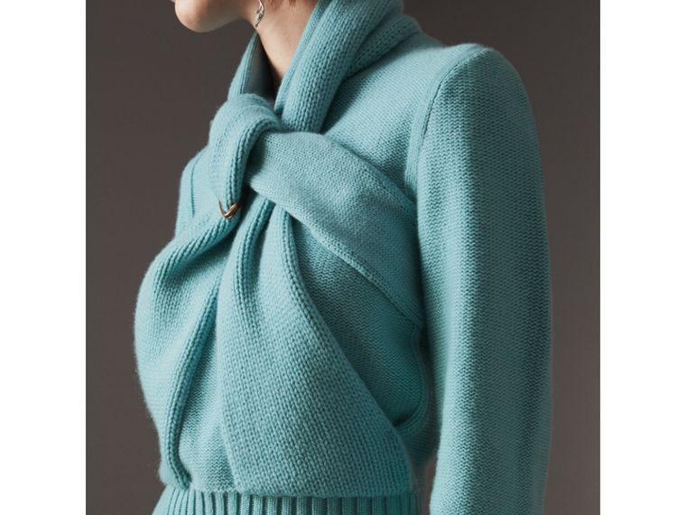 Cashmere Tie-neck Sweater in Powder Blue - Women | Burberry - cell image 1