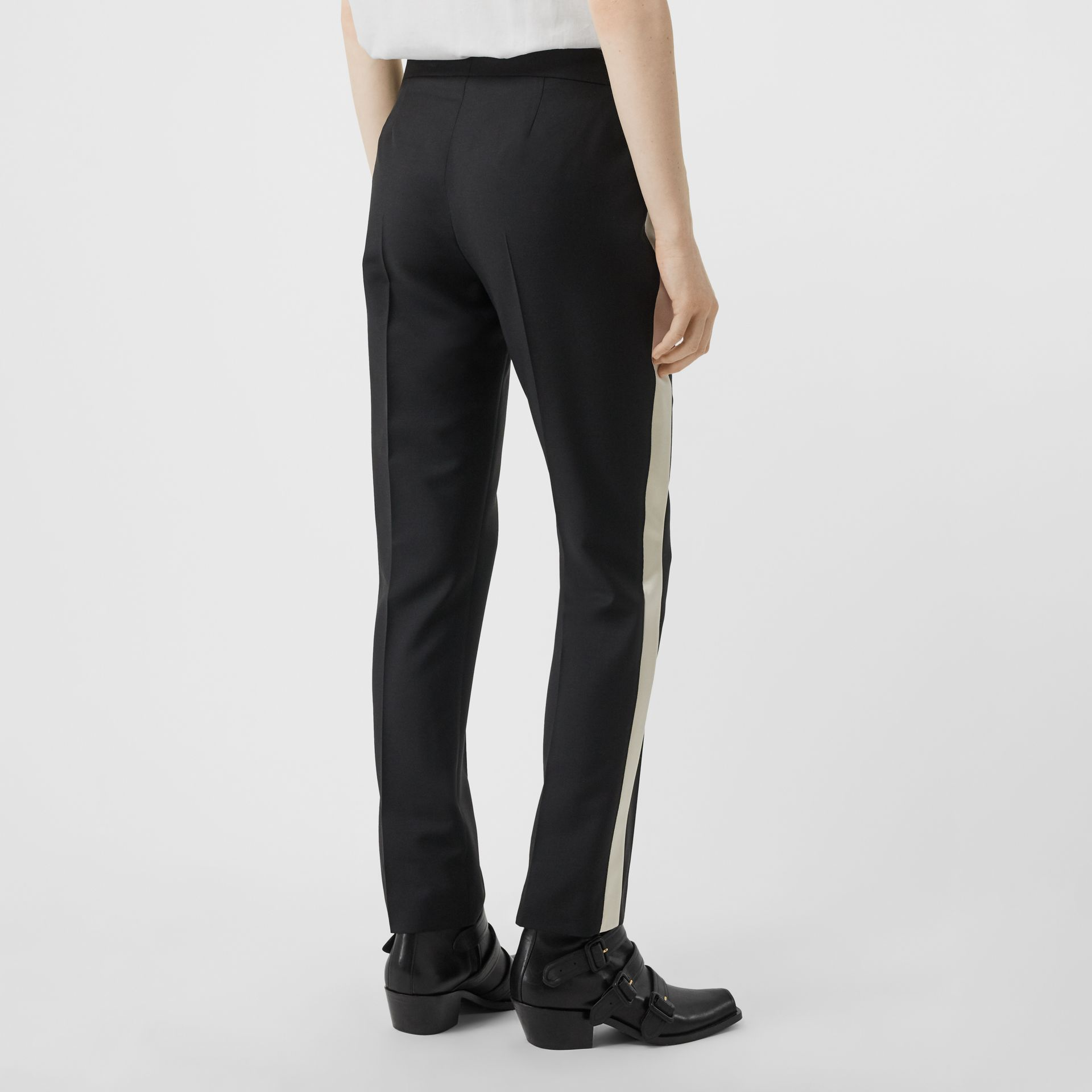 Straight Fit Silk Stripe Wool Tailored Trousers in Black - Women | Burberry - gallery image 2