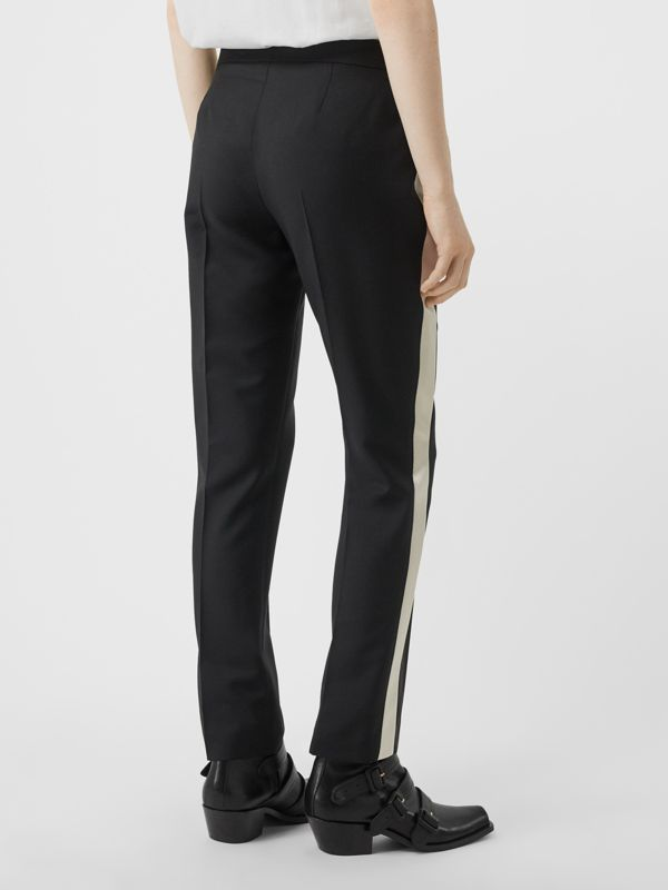 Straight Fit Silk Stripe Wool Tailored Trousers in Black - Women | Burberry - cell image 2