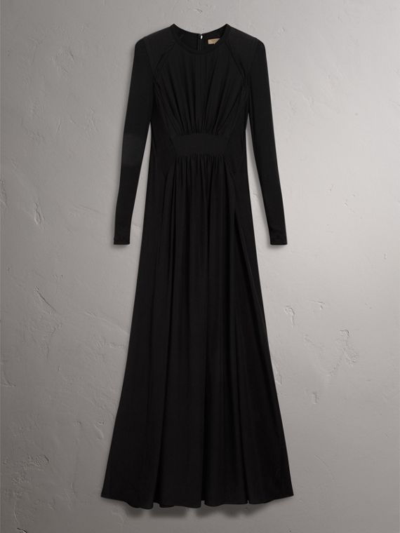 Silk Floor-length Gathered Dress in Black - Women | Burberry Singapore - cell image 3